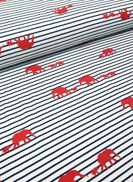 elephant walk red - tricot
