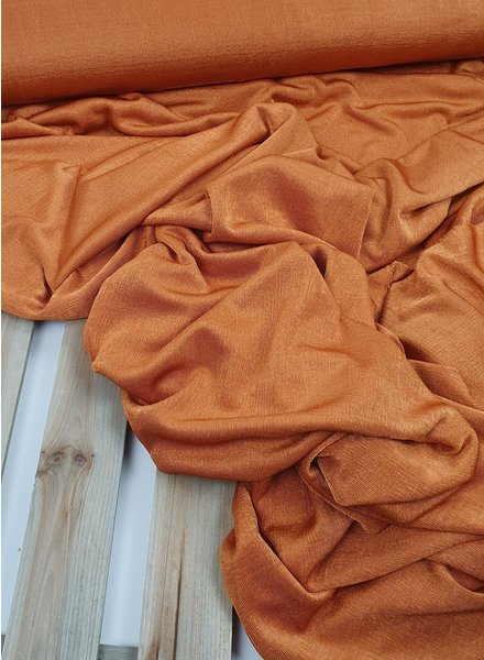 Fibremood soepelvallende oranje stof met glans - fibre mood