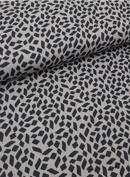 spots grey - linen viscose mix