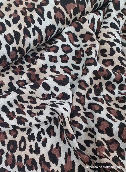 cheetah leopard brown - viscose linnenlook licht rekbaar