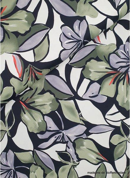 khaki flowers - cotton stretch