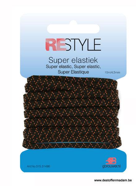 zwarte super elastiek 4,5mm