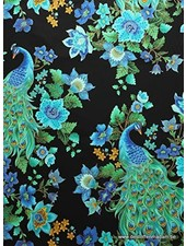 Timeless Treasures Fabrics beautiful peacock katoen