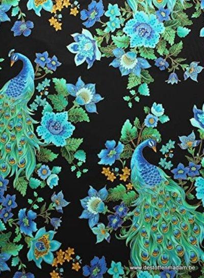 Timeless Treasures Fabrics beautiful peacock katoen