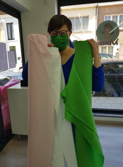 1 meter FACE MASK fabric pink - polyester cotton
