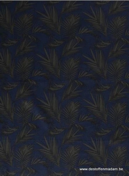 navy leaves - linnen viscose mix