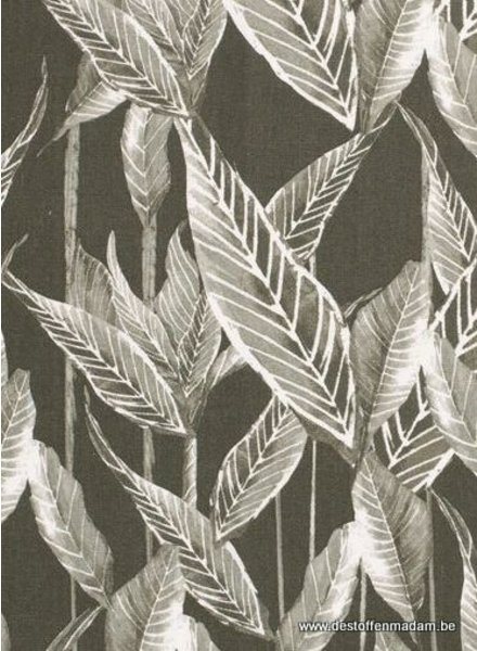khaki leaves - linnen viscose mix
