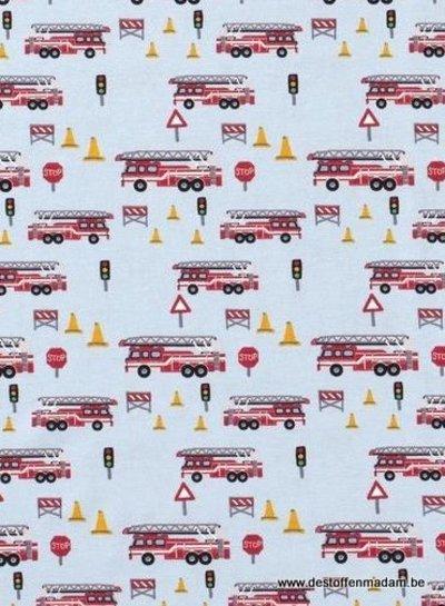 lichtblauw brandweerauto's - tricot