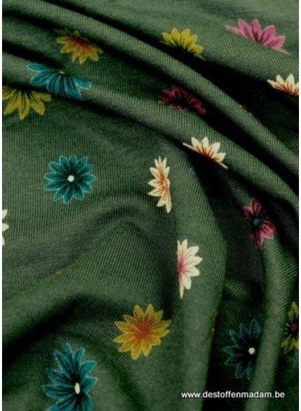 donkergroen bloemen tricot