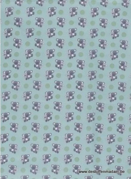 koala bears mint - cotton