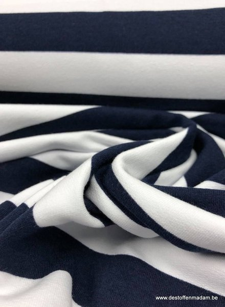 bio french terry - navyblue stripes