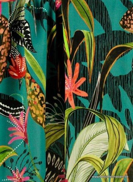 turquoise tropische print viscose