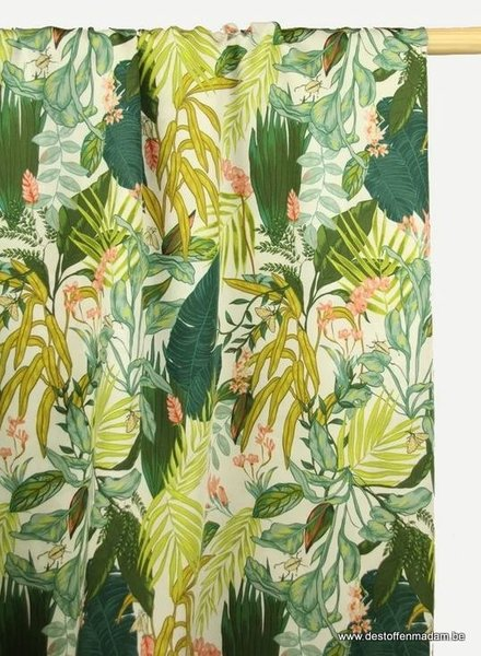 white  tropical print of flowers and leaves viscose
