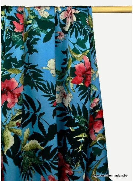sky blue viscose with flowers