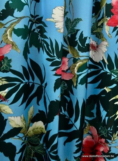 Atelier Jupe sky blue viscose with flowers