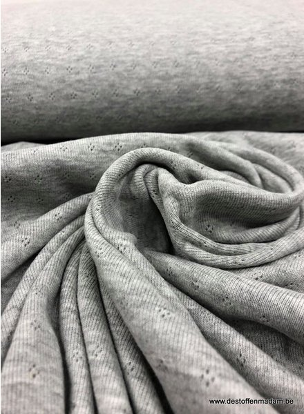 grijs melee ajour tricot pointelle