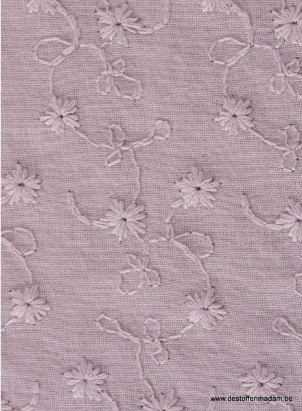 dusty pink flower embroidery - cotton