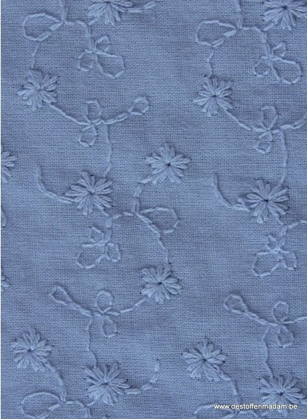 jean blue flower embroidery - cotton