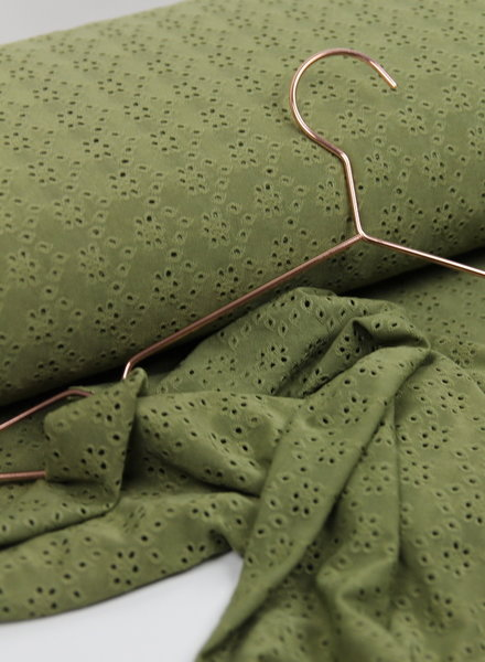 khaki tricot broderie
