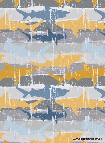 shark attack - french terry - geel blauw