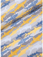 shark attack - french terry - yellow blue