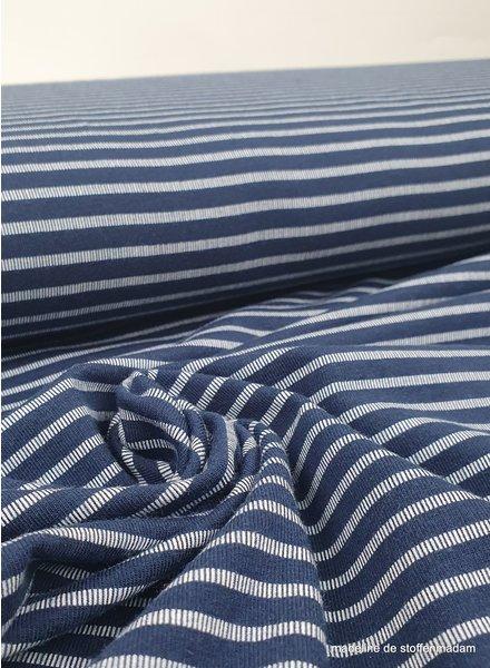 marineblauw - onderbroken streep - tricot