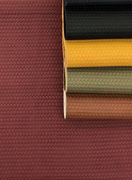 burgundy - braided - vegan  leather