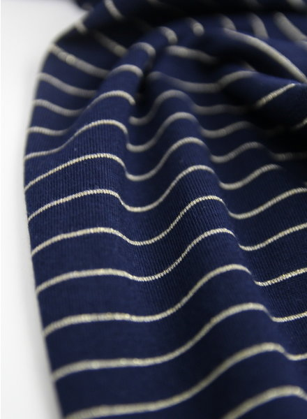 marine cotton jersey with golden lines - Italian