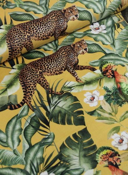leopard geel - velvet decostof