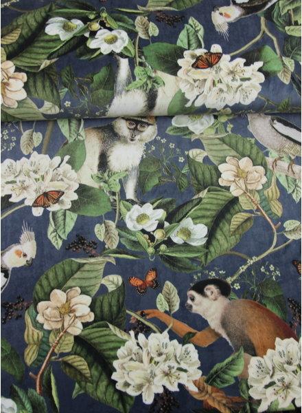 monkey blue -  velvet deco fabric