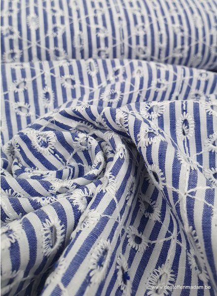 embroidery blue white stripes