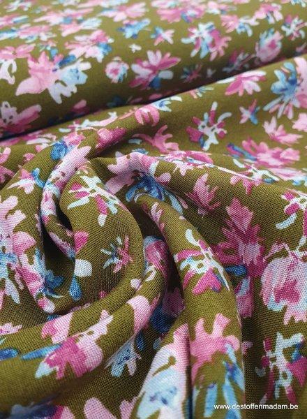 pink camel flowers - viscose