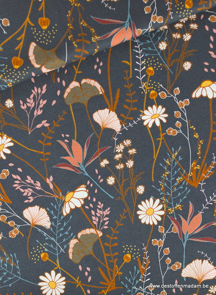 See You at Six Flower Field Cotton Gabardine Twill - Night Blue - R
