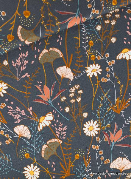See You at Six Flower Field Katoen Gabardine Twill - Nachtblauw - R