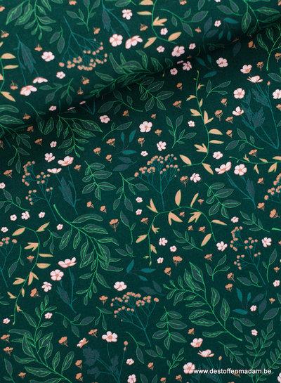 See You at Six Flower Garden Katoen Gabardine Twill - Denneboom groen - R