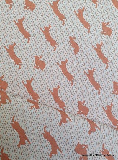 springend konijn oranje canvas