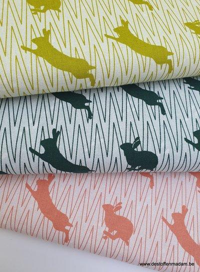 springend konijn groen canvas