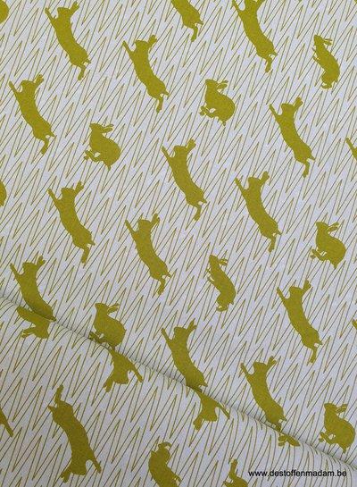 springend konijn geel canvas