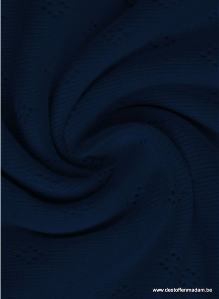 marineblauw ajour pointelle tricot