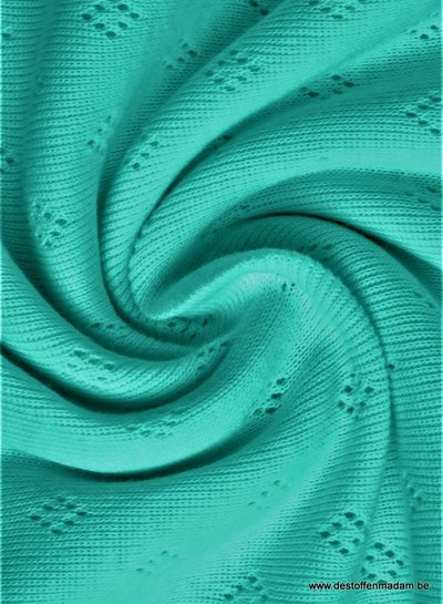 aqua blauw ajour tricot pointelle
