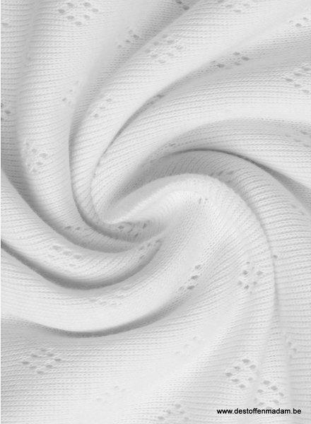 white ajour tricot pointelle
