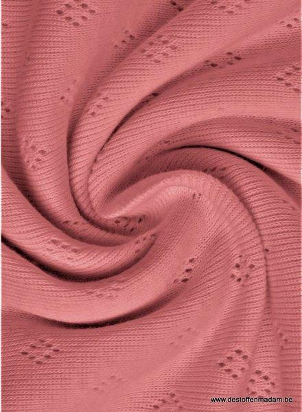 oud roze ajour tricot pointelle