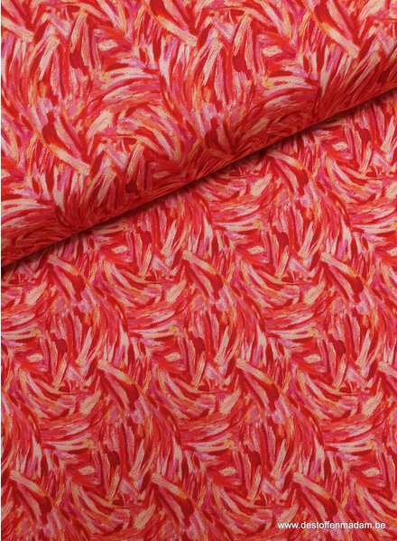 Paintbrush abstract pink and red cotton