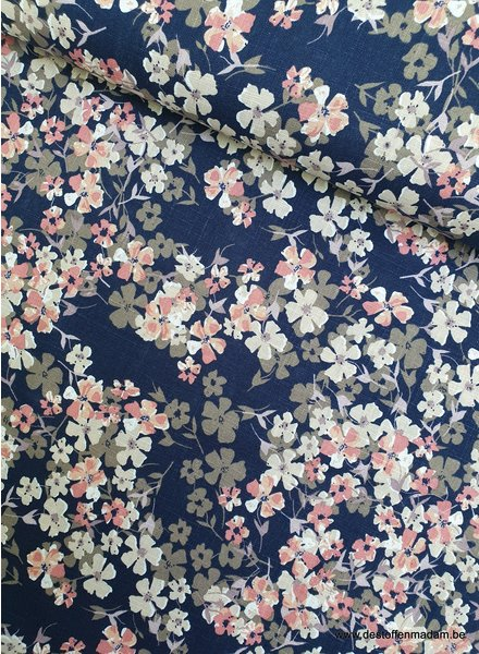 navy and pink flowers - linen viscose mix