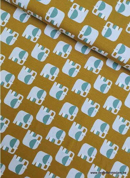 elephants ochre - organic jersey