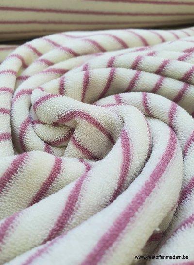 oudroze streepjes spons - rekbare badstof
