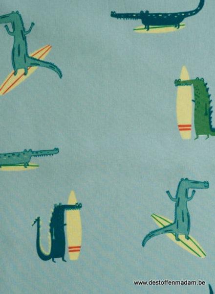 Surfing crocodile - cotton