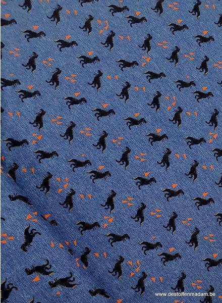 dino blauw - tricot