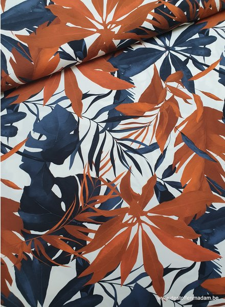 rust and navy leaves - jersey