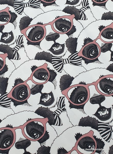 panda with glasses - pink tricot